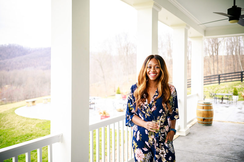 balayage hair ideas for dark skin - South Moon Under Floral jumpsuit styled by popular DC style blogger Alicia Tenise
