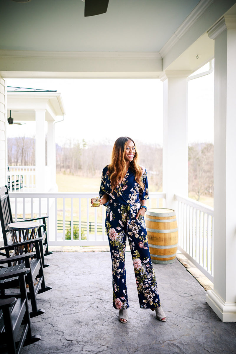 Abbeline Kimono Sleeve Surplice Printed Jumpsuit - South Moon Under Floral jumpsuit styled by popular DC style blogger Alicia Tenise