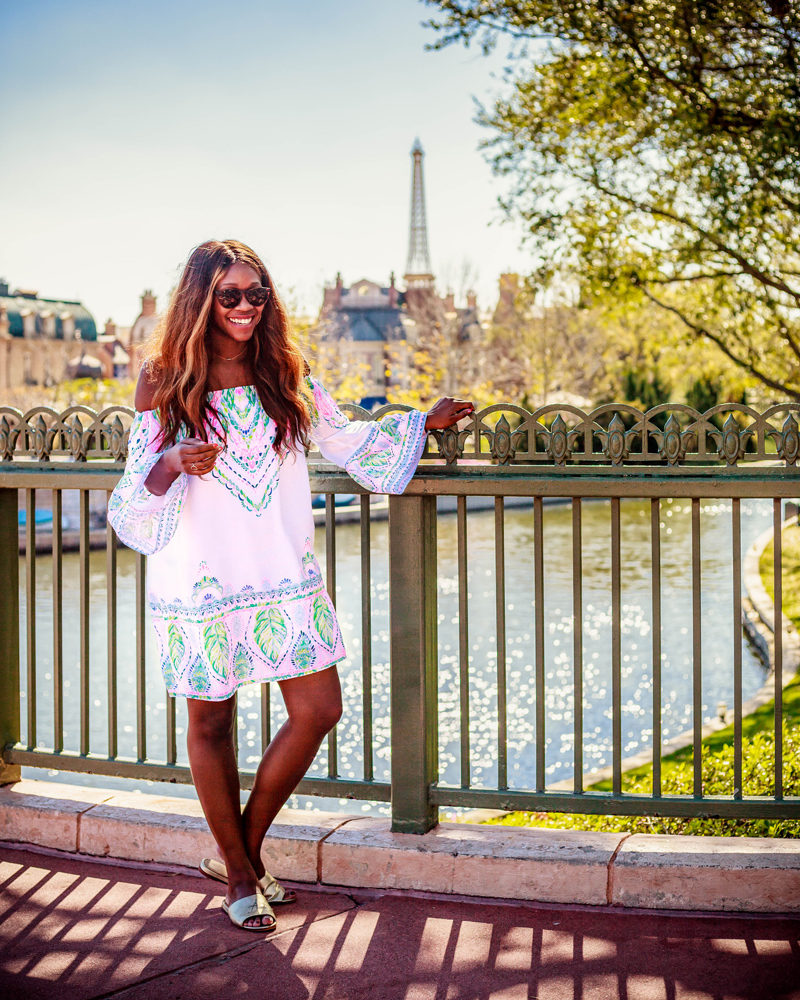 Epcot Paris Disney World, Lilly Pulitzer NEVIE OFF THE SHOULDER DRESS - Disney World For Adults: Part 2 by popular DC travel blogger Alicia Tenise