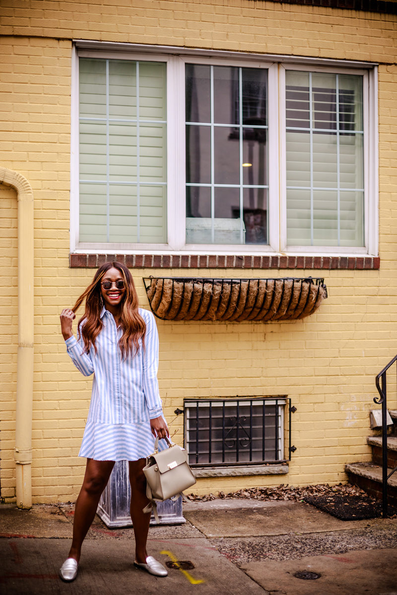 ASOS Cotton Shirt Dress with Pephem In Stripe - Why I Hate Being Called an Instagrammer by popular DC blogger Alicia Tenise