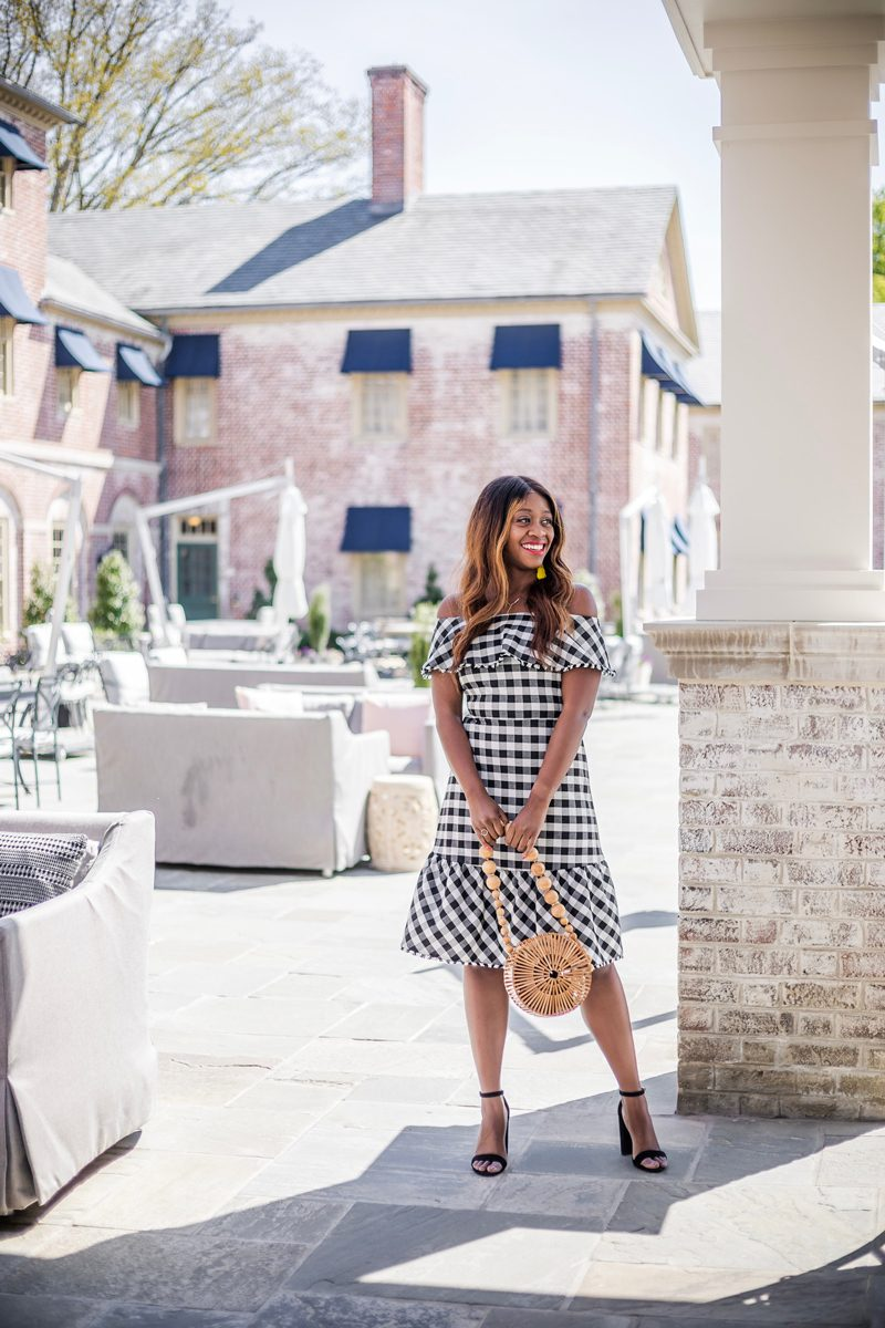 Ann Taylor GINGHAM OFF THE SHOULDER DRESS styled by popular DC style blogger, Alicia Tenise