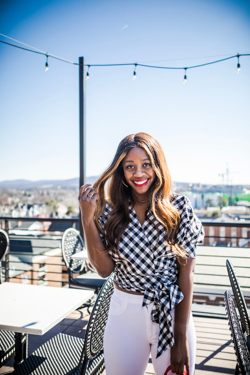 Gingham Wrap Top - Happy Hour Uniform styled by popular DC fashion blogger, Alicia Tenise