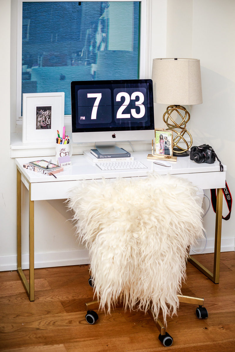ikea hack white and gold diy ikea desk alicia tenise. Black Bedroom Furniture Sets. Home Design Ideas