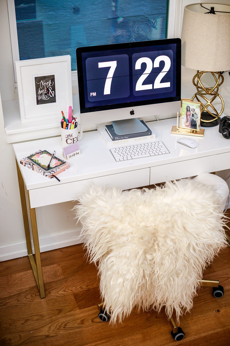 White and Gold DIY Ikea Desk by popular lifestyle blogger Alicia Tenise