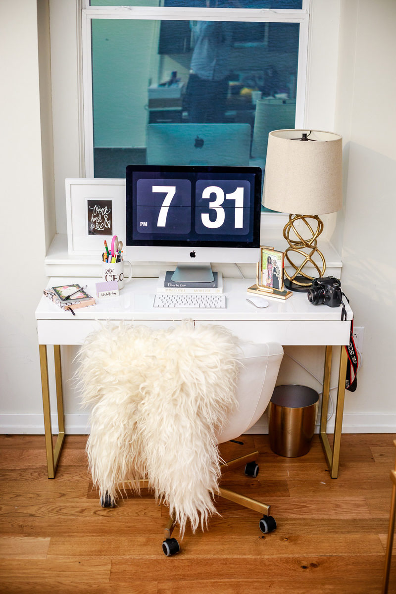 IKEA Gold and White Desk DIY Project - White and Gold DIY Ikea Desk by popular lifestyle blogger Alicia Tenise