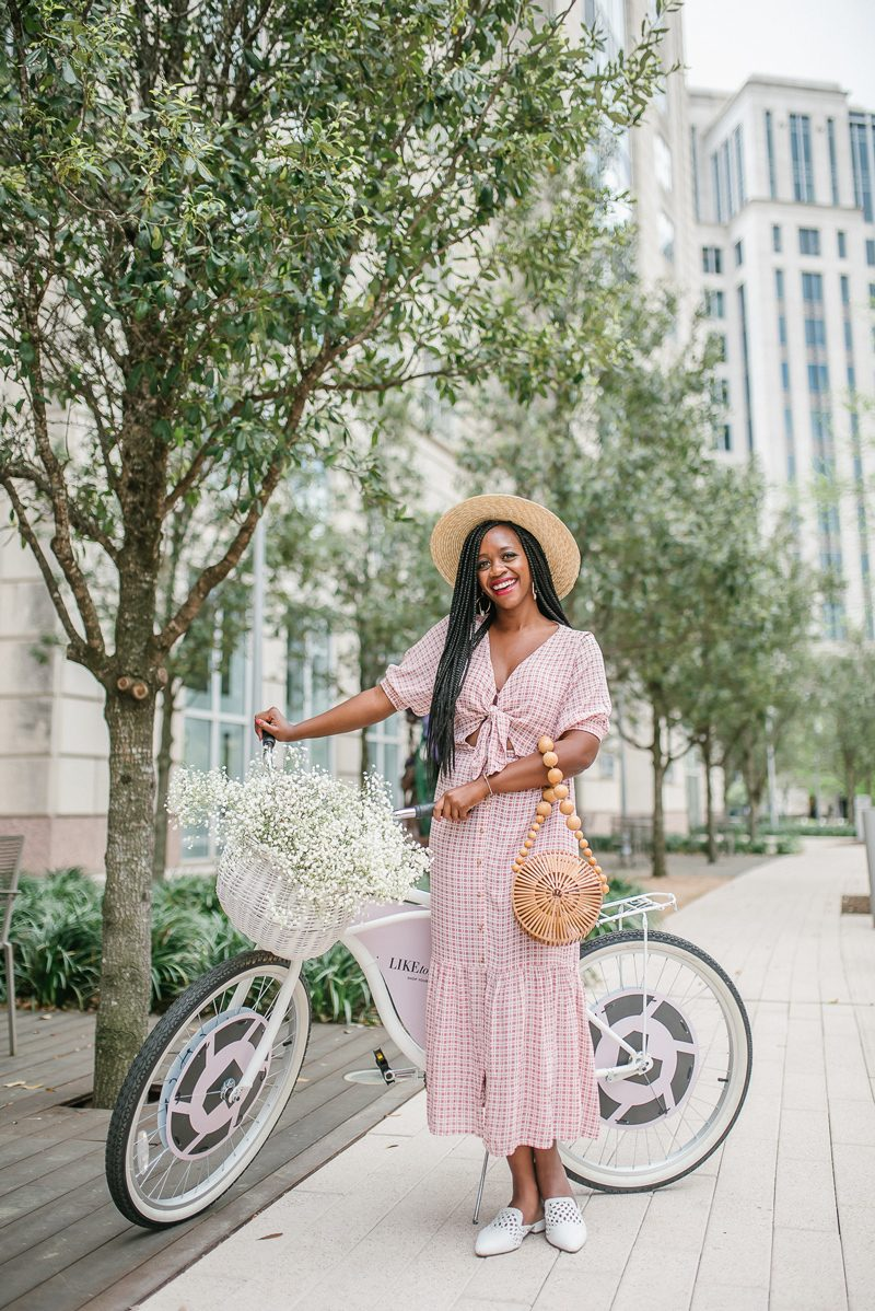 Shopbop Sale featured by top US fashion blogger Alicia Tenise; Image of a woman wearing Brixton Joanna Hat, FAITHFULL THE BRAND Maple Midi Dress, Cult Gaia Bamboo Circle Bag and Sam Edelman Clara Mules.