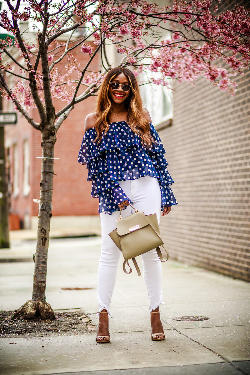 Show Me Your Mumu Chi Chi Top in Dippin' Dots, Joe's Jeans Charlie Ankle  - Ruffles & Polka Dot Blouse by popular DC style blogger Alicia Tenise