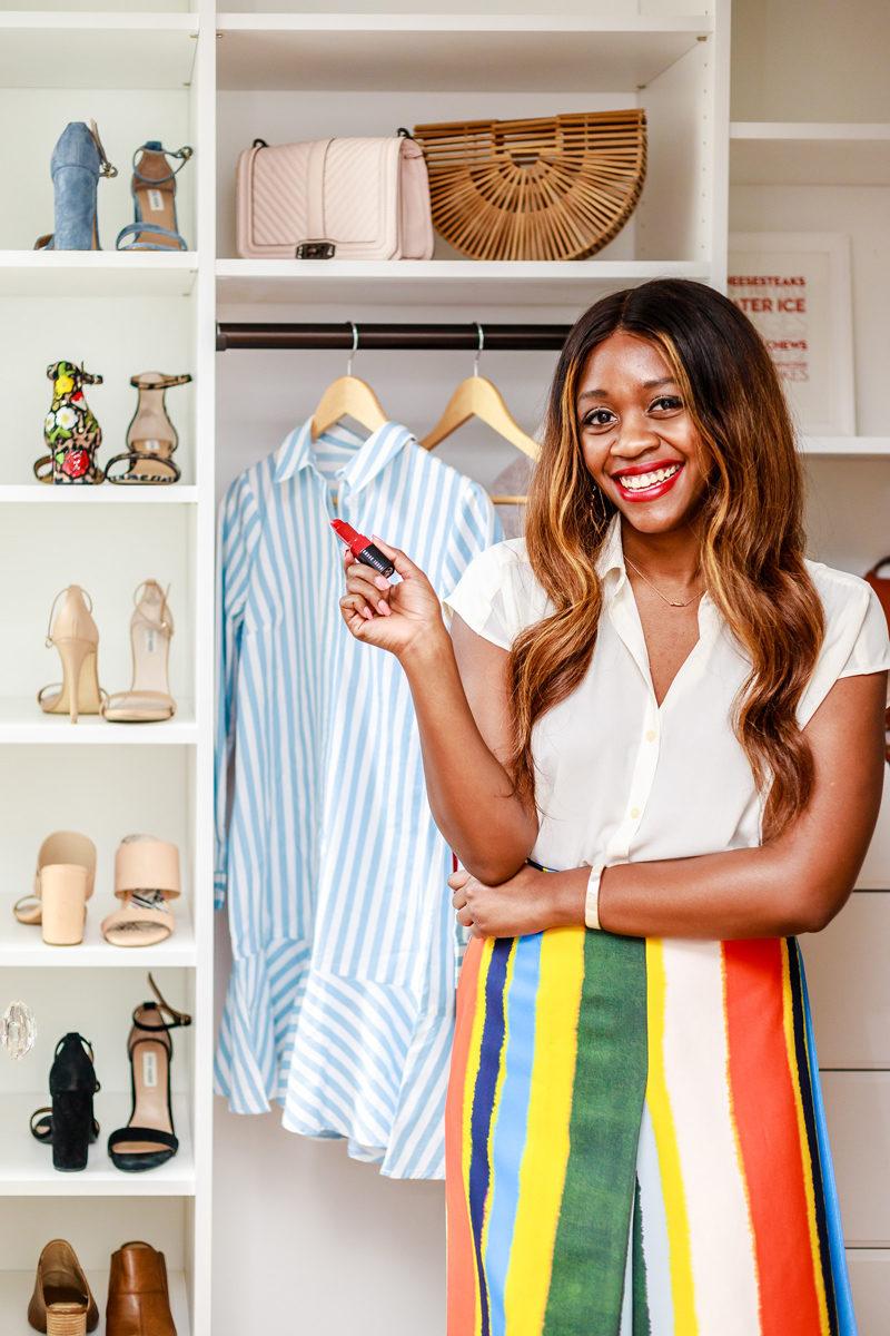Tory Burch - Fiona Striped Twill Wrap Midi Skirt - Yellow - Small closet organization tips by popular DC style blogger Alicia Tenise
