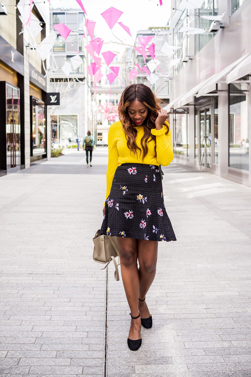 Ann Taylor Embroidered Floral Eyelet Full Skirt - How to Wear the Hottest Spring Color: Yellow by popular DC style blogger Alicia Tenise