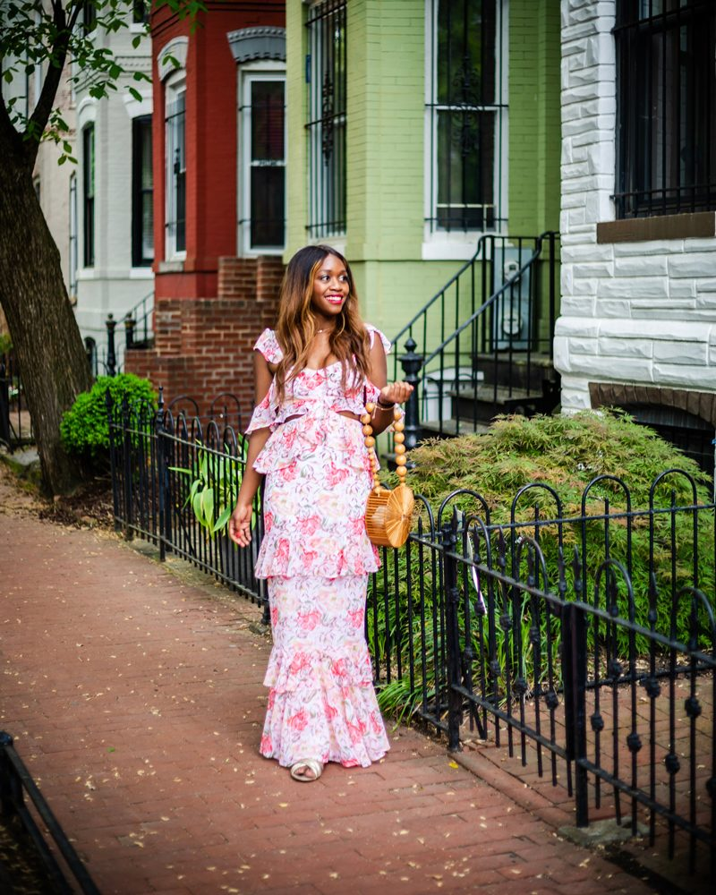 Milan Cut Out Ruffle Maxi Dress - My Go-To Spring Wedding Outfit featured by popular DC style blogger, Alicia Tenise