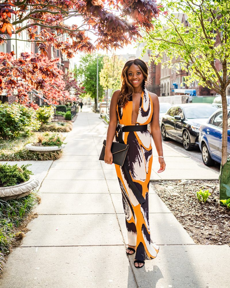 Solace London Printed Laryn Gown from Rent the Runway - What to Wear During White House Correspondents Dinner Weekend by popular DC style blogger, Alicia Tenise