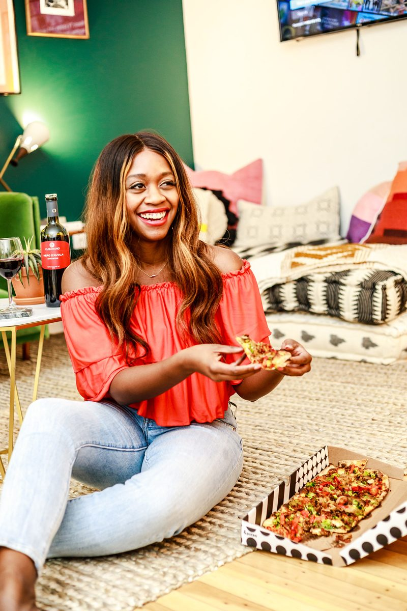 ASOS DESIGN Off Shoulder Crop Top With Slinky Ruffle, The Touraine Philadelphia, & Pizza, 5 Ways to De-stress As An Entrepreneur by popular DC blogger, Alicia Tenise
