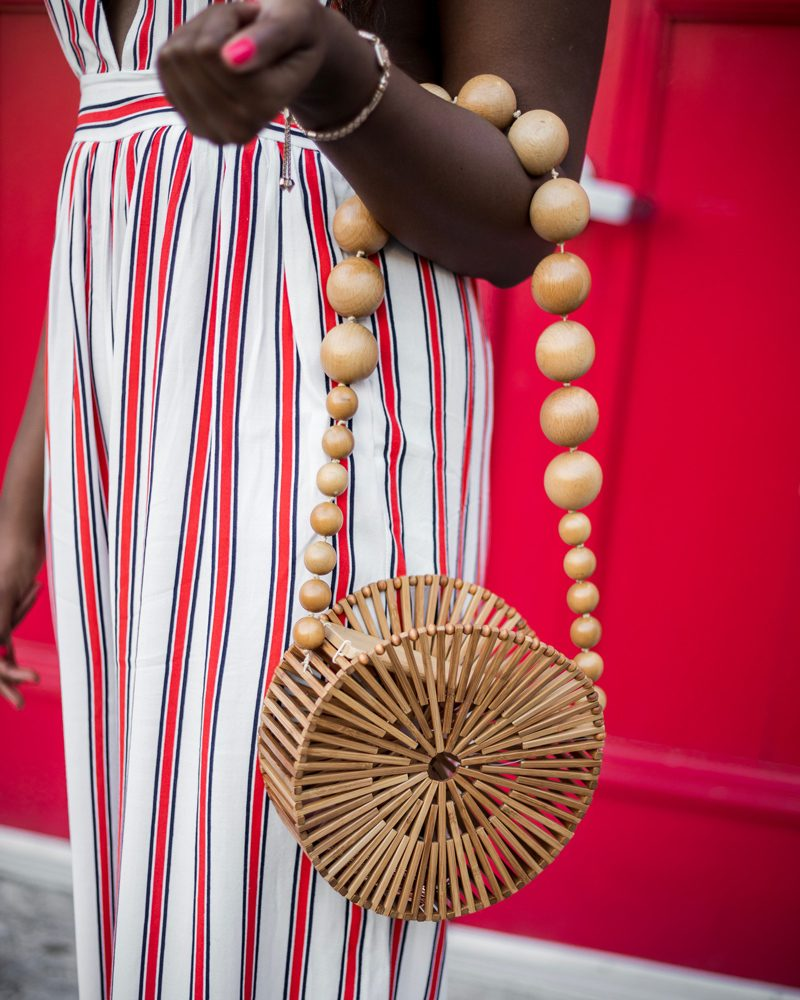 Cult Gaia Circle Bamboo Bag - The Striped Jumpsuit featured by popular DC Fashion blogger, Alicia Tenise