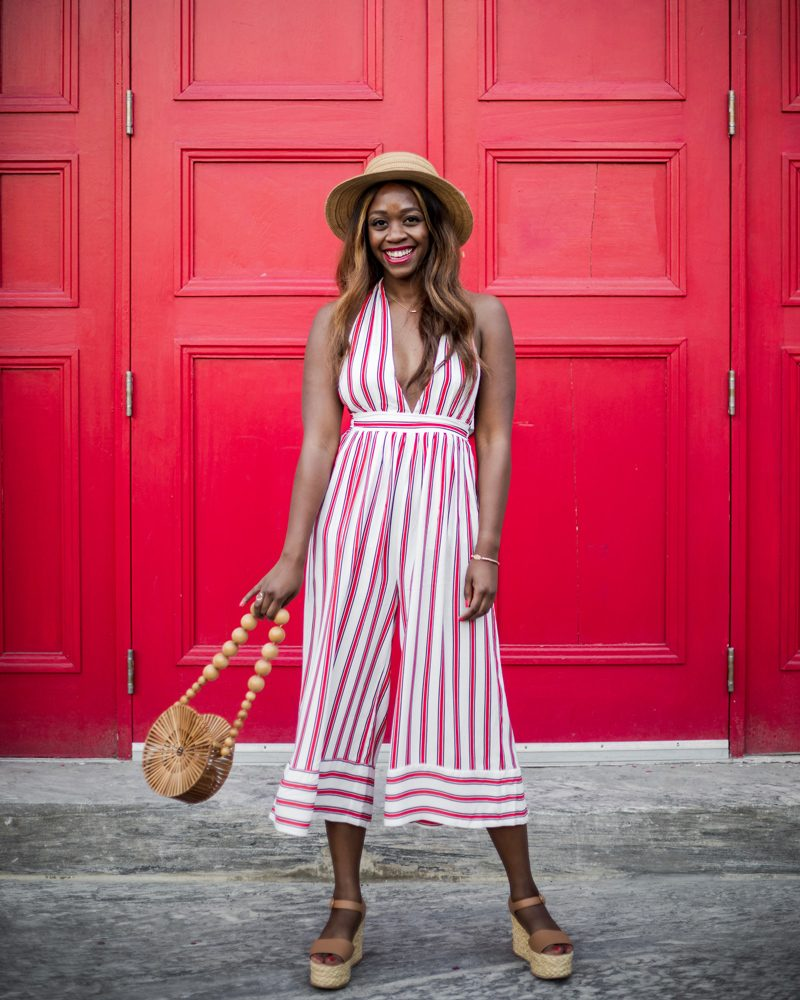 UO Raven Plunging Halter Jumpsuit - The Striped Jumpsuit featured by popular DC Fashion blogger, Alicia Tenise