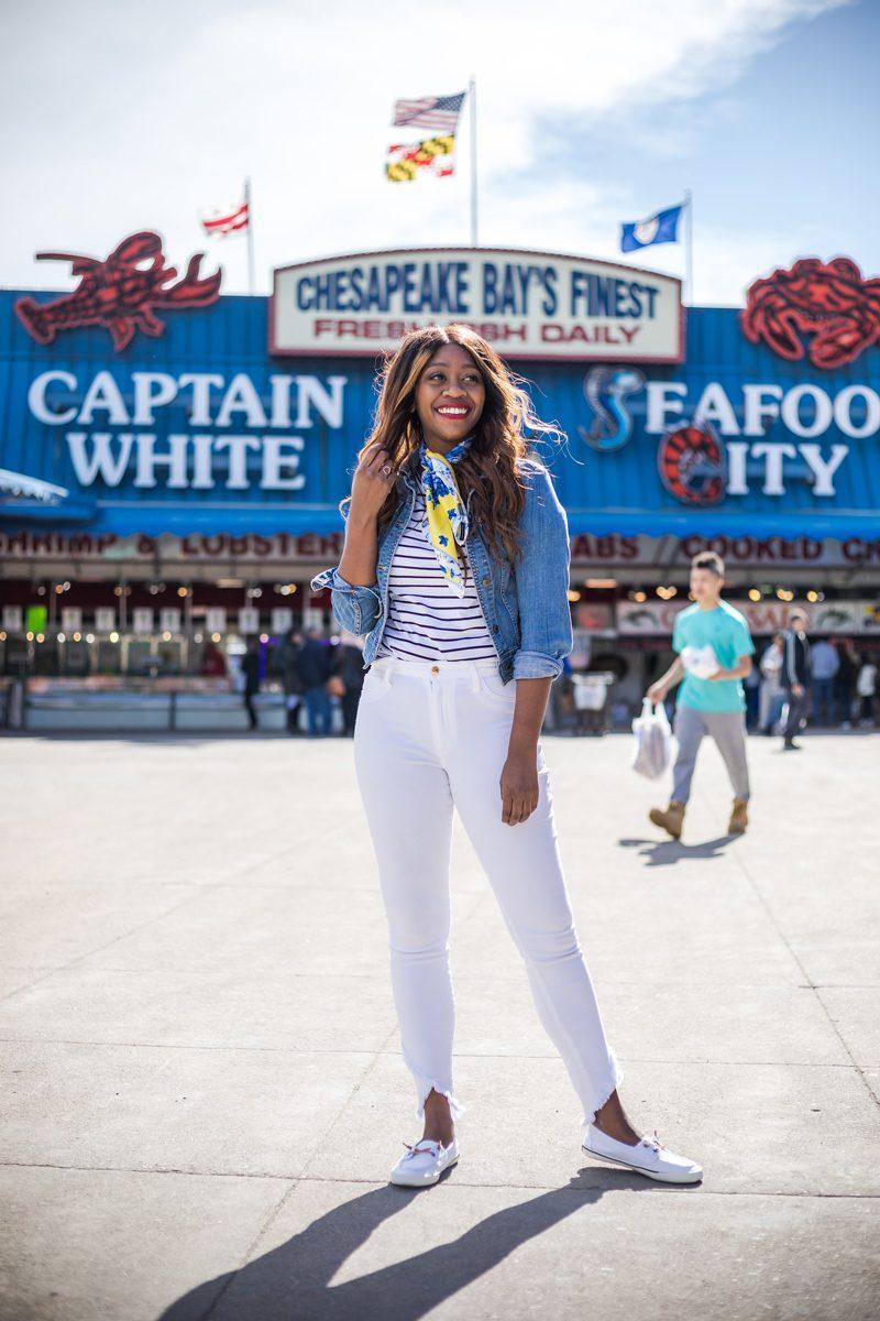 Ann Taylor Lilac Silk Little Scarf, Shrunken Denim Jacket - My Summer Bucket List featured by popular DC lifestyle blogger, Alicia Tenise