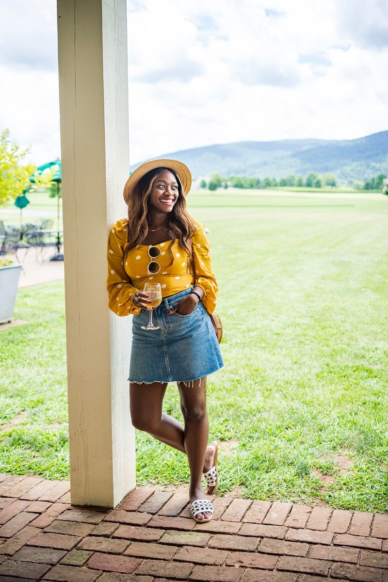 How to Style a Denim Mini Skirt for Summer - Polka Dot Fashion: Why Polka Dots are the New Stripes featured by popular DC style blogger Alicia Tenise