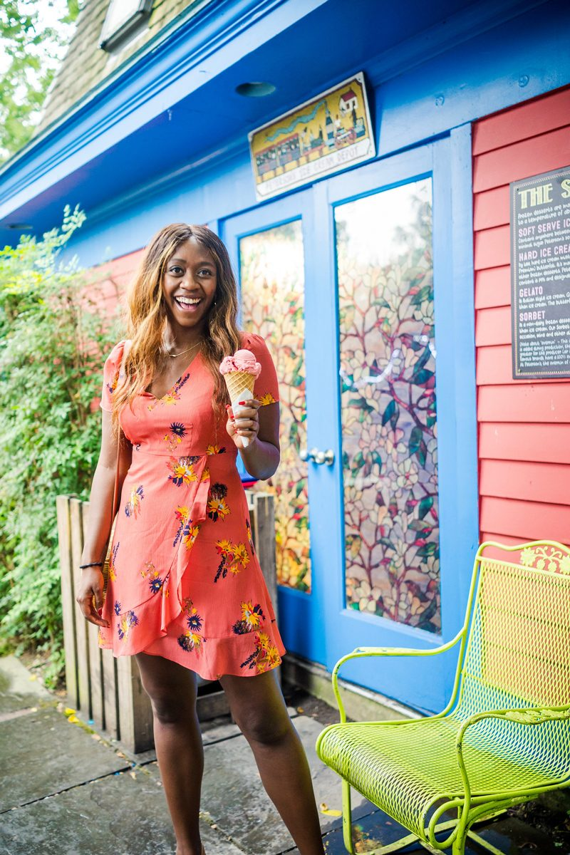 Peterson's Ice Cream Co in Clifton VA - The Perfect Floral Dress to Transition from Summer to Fall featured by popular DC style blogger Alicia Tenise
