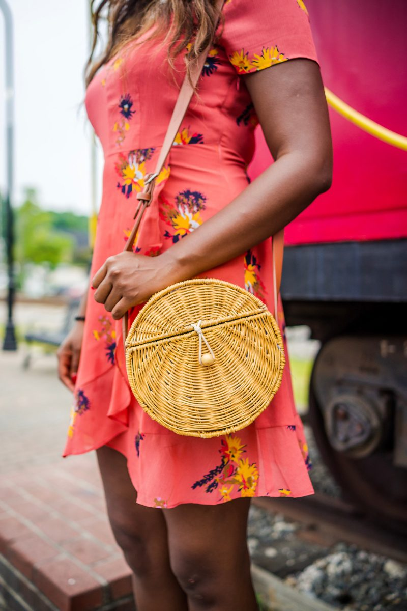 Circle Wicker Bag - The Perfect Floral Dress to Transition from Summer to Fall featured by popular DC style blogger Alicia Tenise