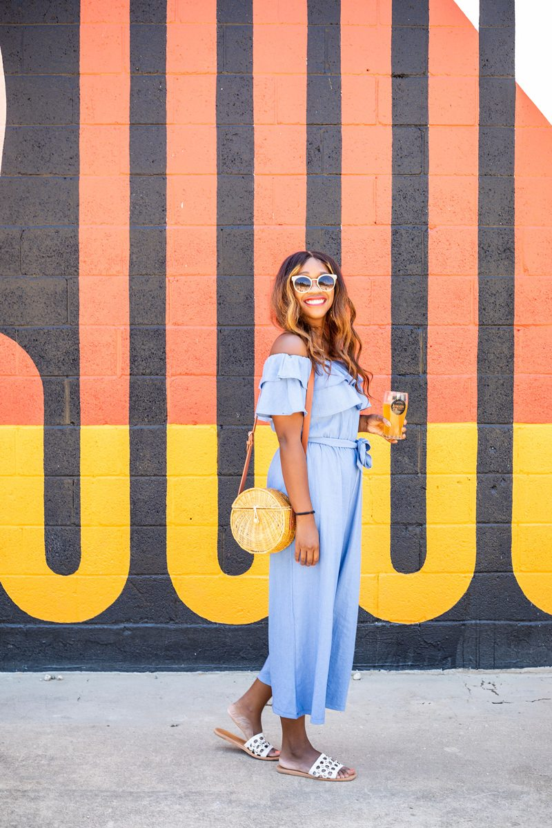 Off the Shoulder Ruffle Jumpsuit - What to Do When You're Feeling Deflated featured by popular DC life and style blogger Alicia Tenise