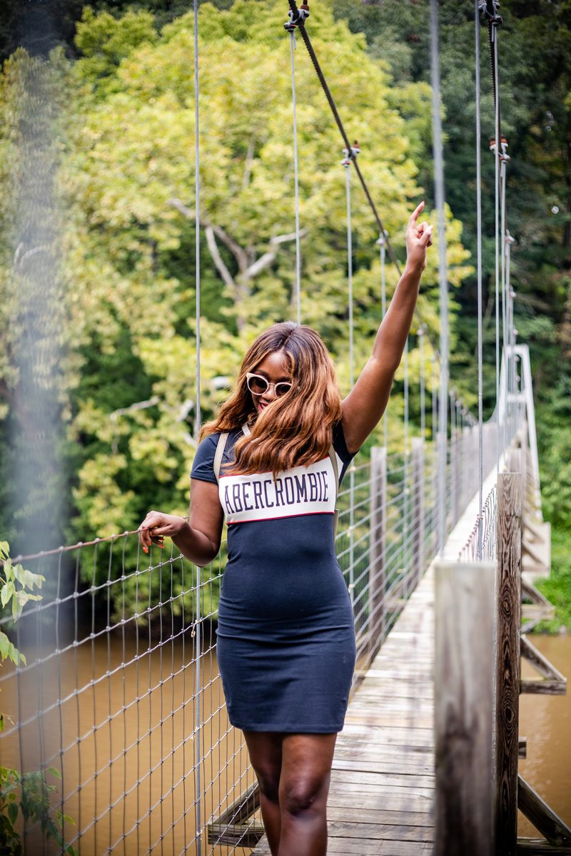 Abercrombie Track Bodycon Dress | Pedestrian Bridge in Woodstock VA | Abercrombie | RE: Diversity Problem In The Blogging Industry featured by popular Virginia blogger Alicia Tenise
