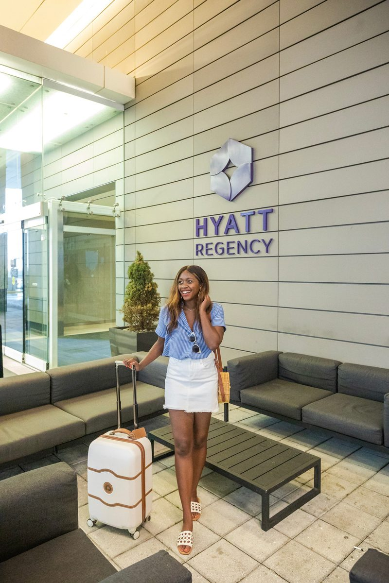 Delsey Chatelet Plus 21 Carry-On Hardside Spinner Suitcase - Where to Stay in Washington DC: The Hyatt Regency Tysons Corner featured by popular Virginia travel blogger, Alicia Tenise