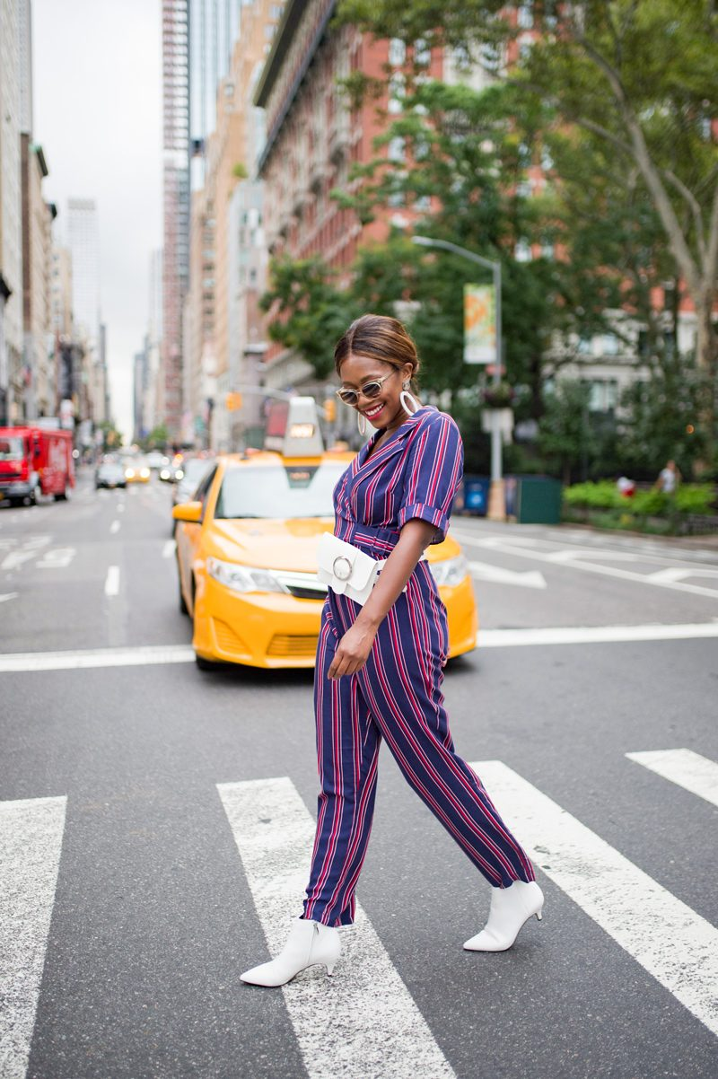 ASOS DESIGN wrap jumpsuit with self buckle in stripe | NYFW Recap: Day 1 featured by popular Virginia fashion blogger Alicia Tenise