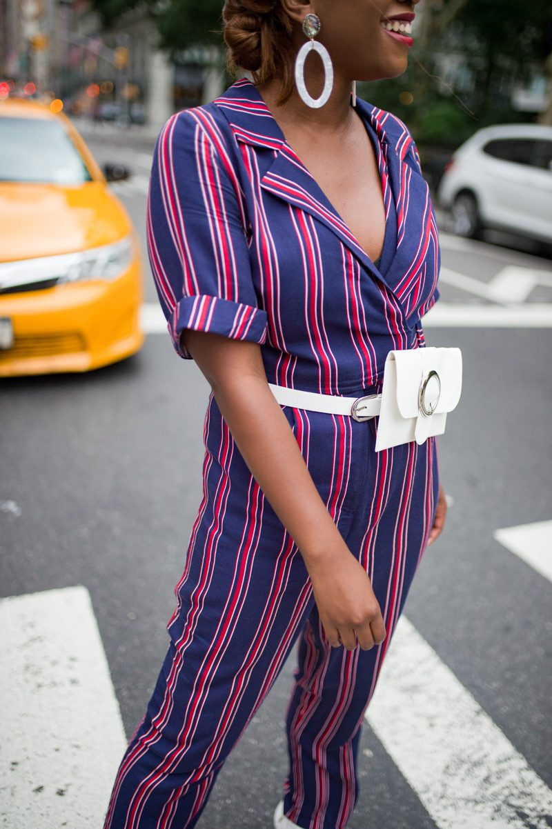 Stripe Jumpsuit, White Belt Bag - The One Question I Wish People Would Stop Asking Me featured by popular Virginia lifestyle blogger, Alicia Tenise