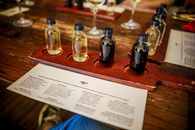 Walsh Family Winery |Virginia Wineries by popular D.C. travel blogger, Alicia Tenise: image of wine samples.