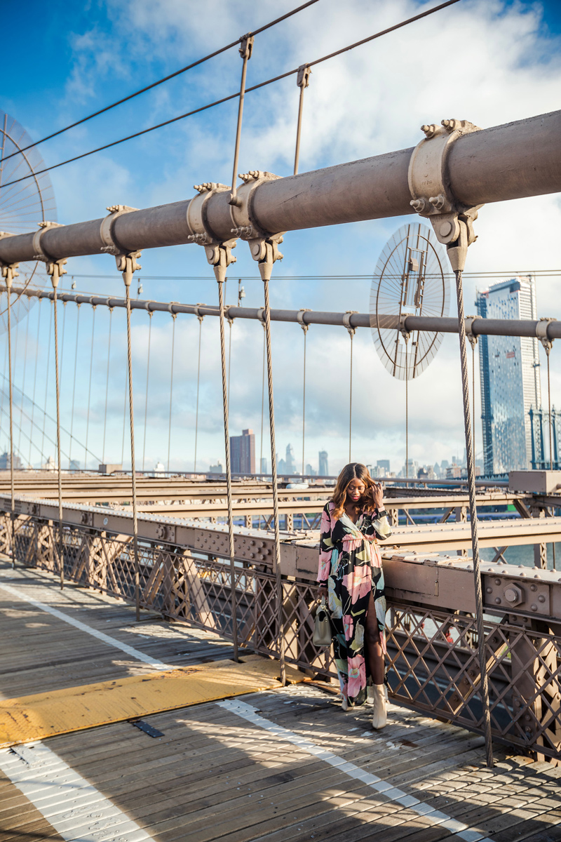 Brooklyn Bridge Blogger Photoshoot | WONDROUS WATER LILIES BLACK FLORAL PRINT MAXI DRESS | Internship Opportunity: I'm Hiring, Come Join my Team featured by top Virginia blog Alicia Tenise