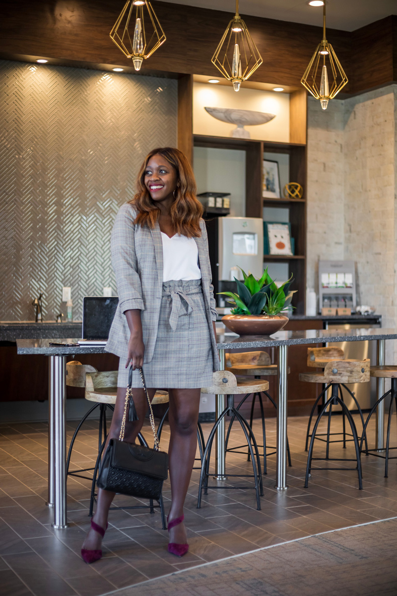 Work Outfit Ideas from Express | Express power plaid suit featured by top Virginia style blogger, Alicia Tenise