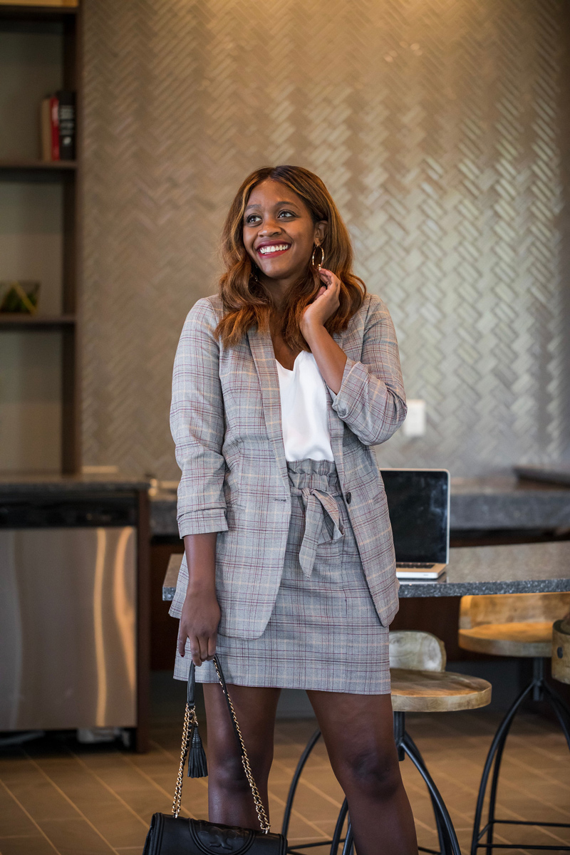 Plaid Suit for Fall | Express power plaid suit featured by top Virginia style blogger, Alicia Tenise