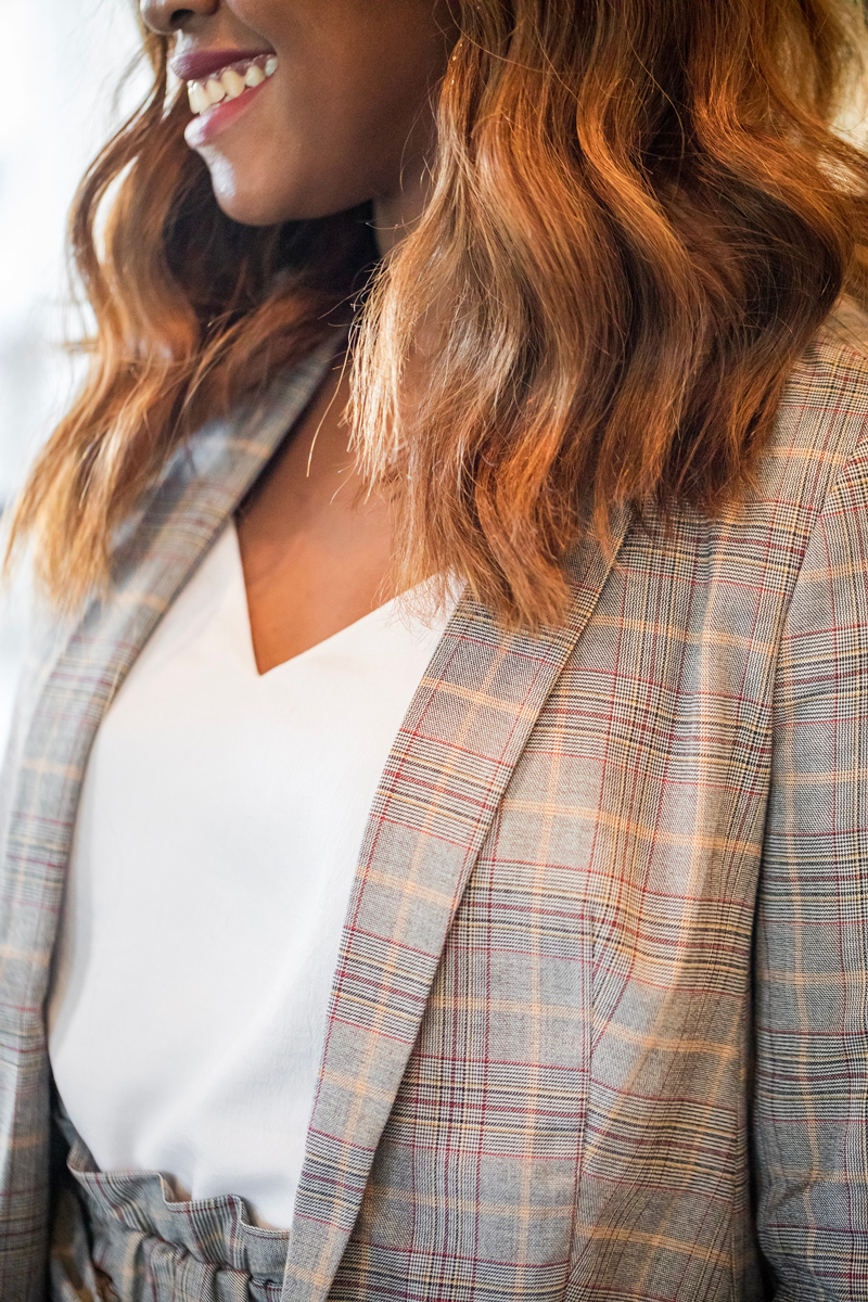 | Express power plaid suit featured by top Virginia style blogger, Alicia Tenise