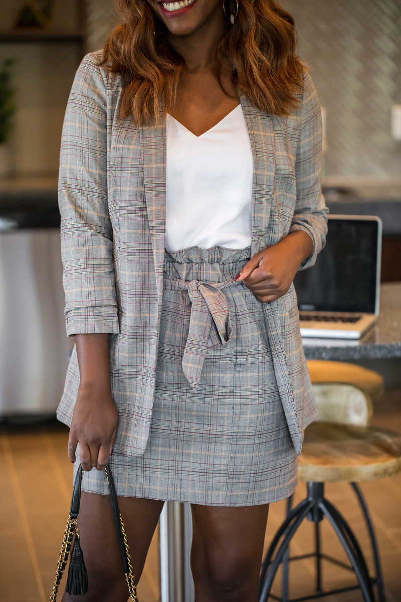 Plaid Suits for the Office | Express power plaid suit featured by top Virginia style blogger, Alicia Tenise
