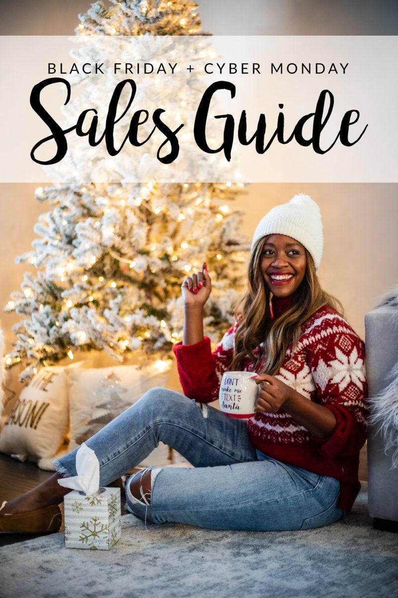 Black Friday and Cyber Monday Sales featured by top DC life and style blog, Alicia Tenise: picture of a woman in front of a Christmas tree, wearing a Fair Isle Mock Neck Sweater and Pom Pom Hat