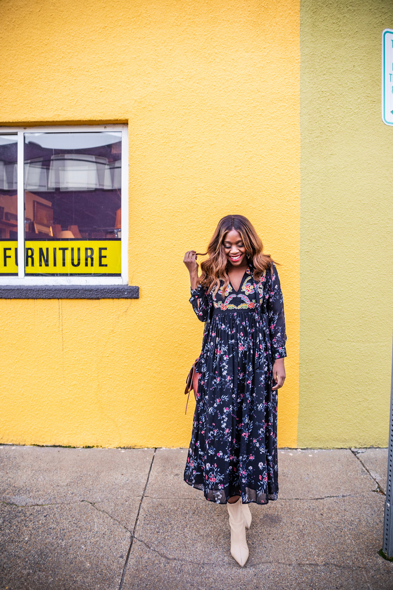 How to Style a Floral Midi Dress for Fall - Why You Should Shop the Stage Stores x ThredUp Pop Up featured by Top DC fashion blogger, Alicia Tenise