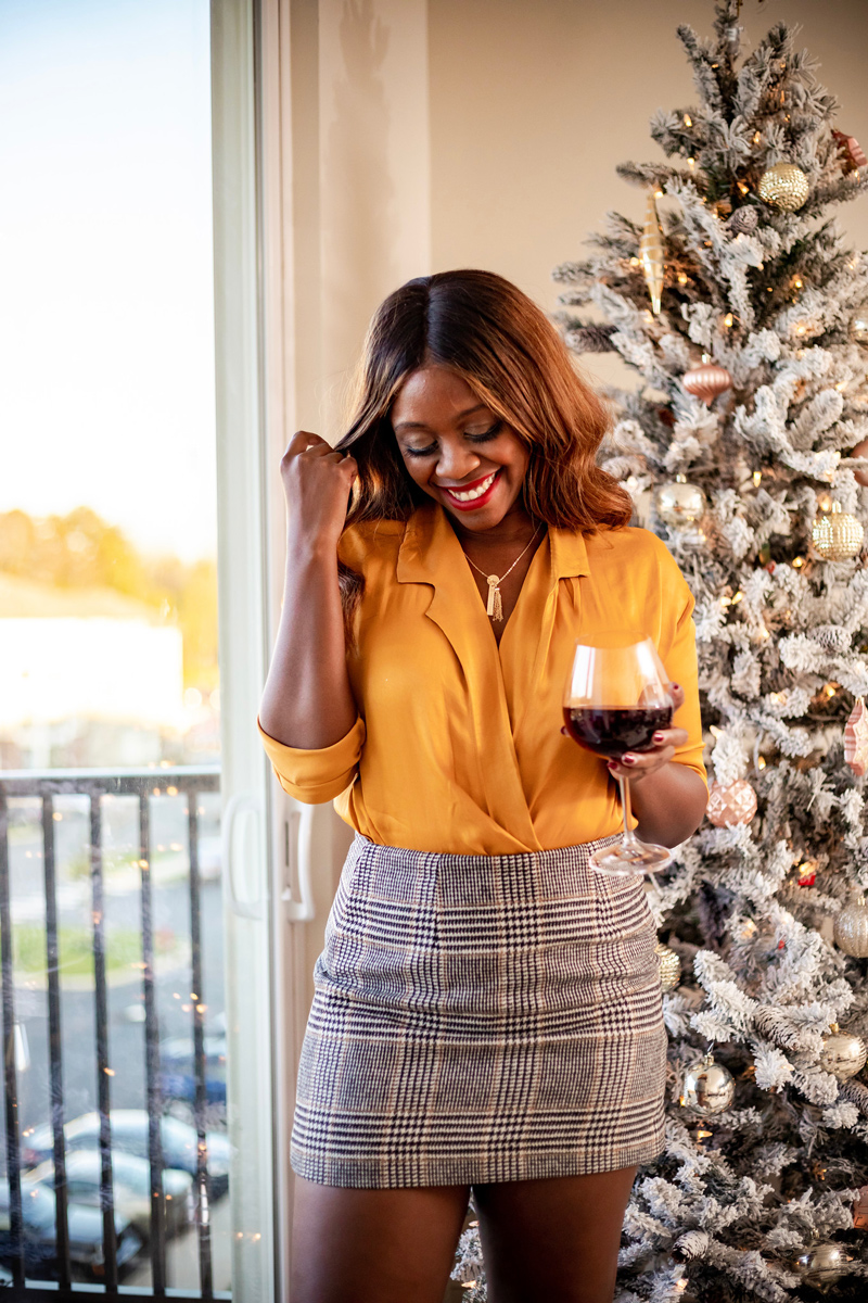 Mustard Yellow Satin Top and Plaid Mini Skirt | I Helped Design a Taudrey Charm Necklace featured by top DC fashion blog Alicia Tenise