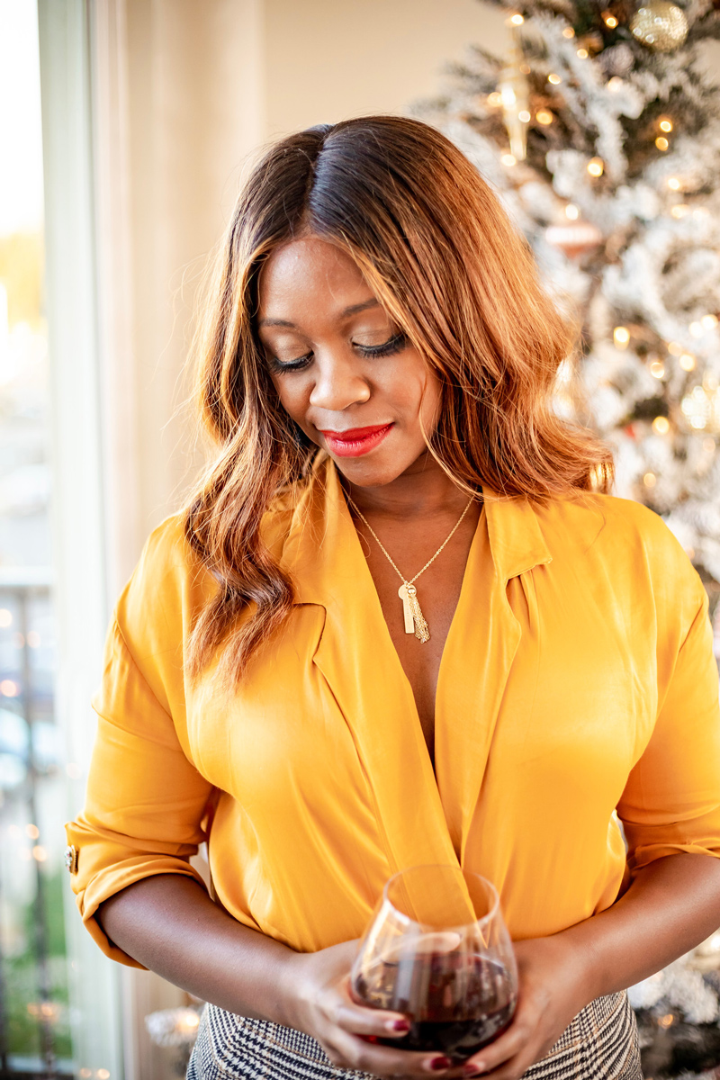 The Best Charm Necklace to Gift This Holiday Season | Mustard Yellow Satin Top and Plaid Mini Skirt | I Helped Design a Taudrey Charm Necklace featured by top DC fashion blog Alicia Tenise