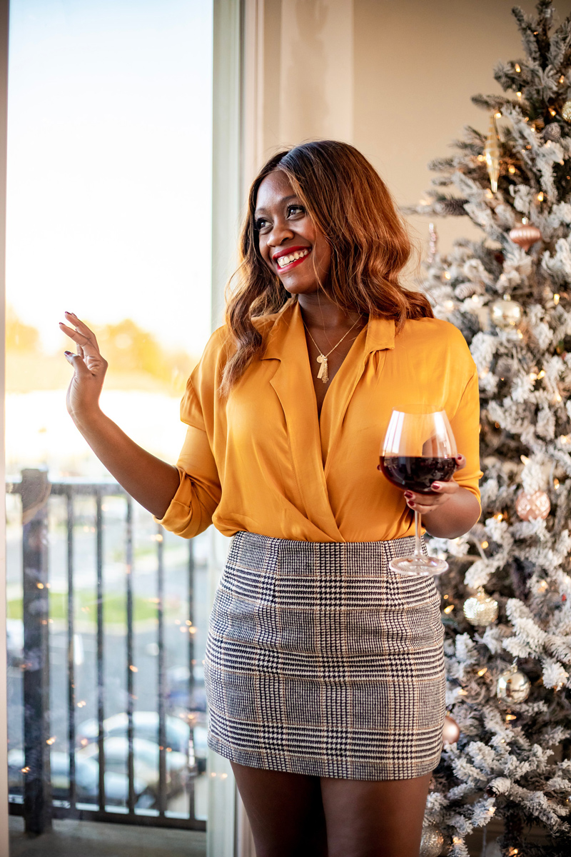 Fall Going Out Outfit Idea | Mustard Yellow Satin Top and Plaid Mini Skirt | I Helped Design a Taudrey Charm Necklace featured by top DC fashion blog Alicia Tenise