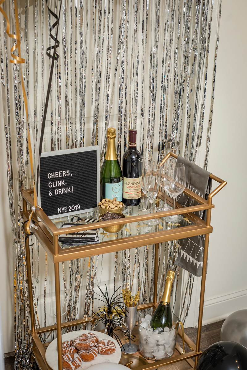 How to Decorate for New Years Eve | Target | IKEA | Pottery Barn | My New Year's Eve Bar Cart Ideas featured by top DC life and style blogger Alicia Tenise
