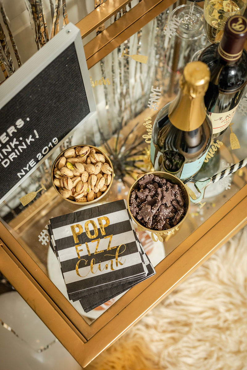 Pop Fizz Clink Cocktail Napkins | Target | IKEA | Pottery Barn | My New Year's Eve Bar Cart Ideas featured by top DC life and style blogger Alicia Tenise