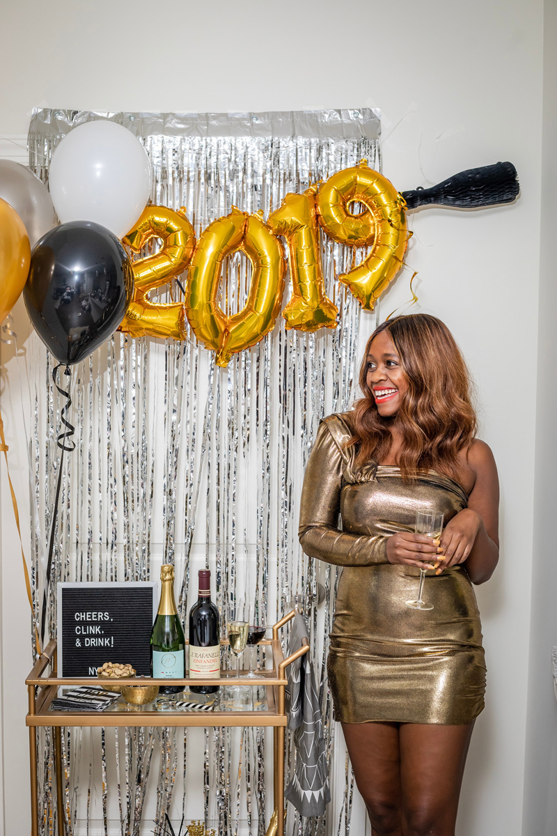 Gold Metallic Mini Dress | Target | IKEA | Pottery Barn | My New Year's Eve Bar Cart Ideas featured by top DC life and style blogger Alicia Tenise