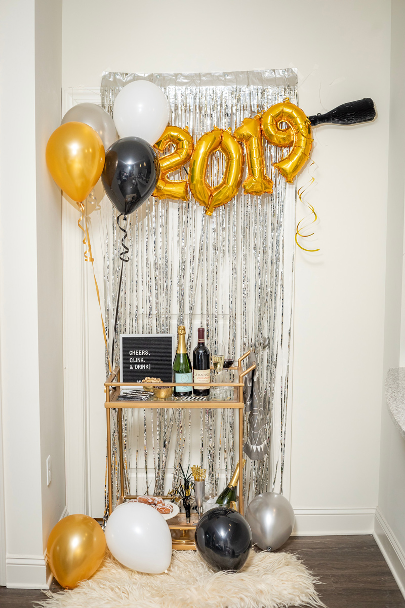 new years eve bar cart party decor