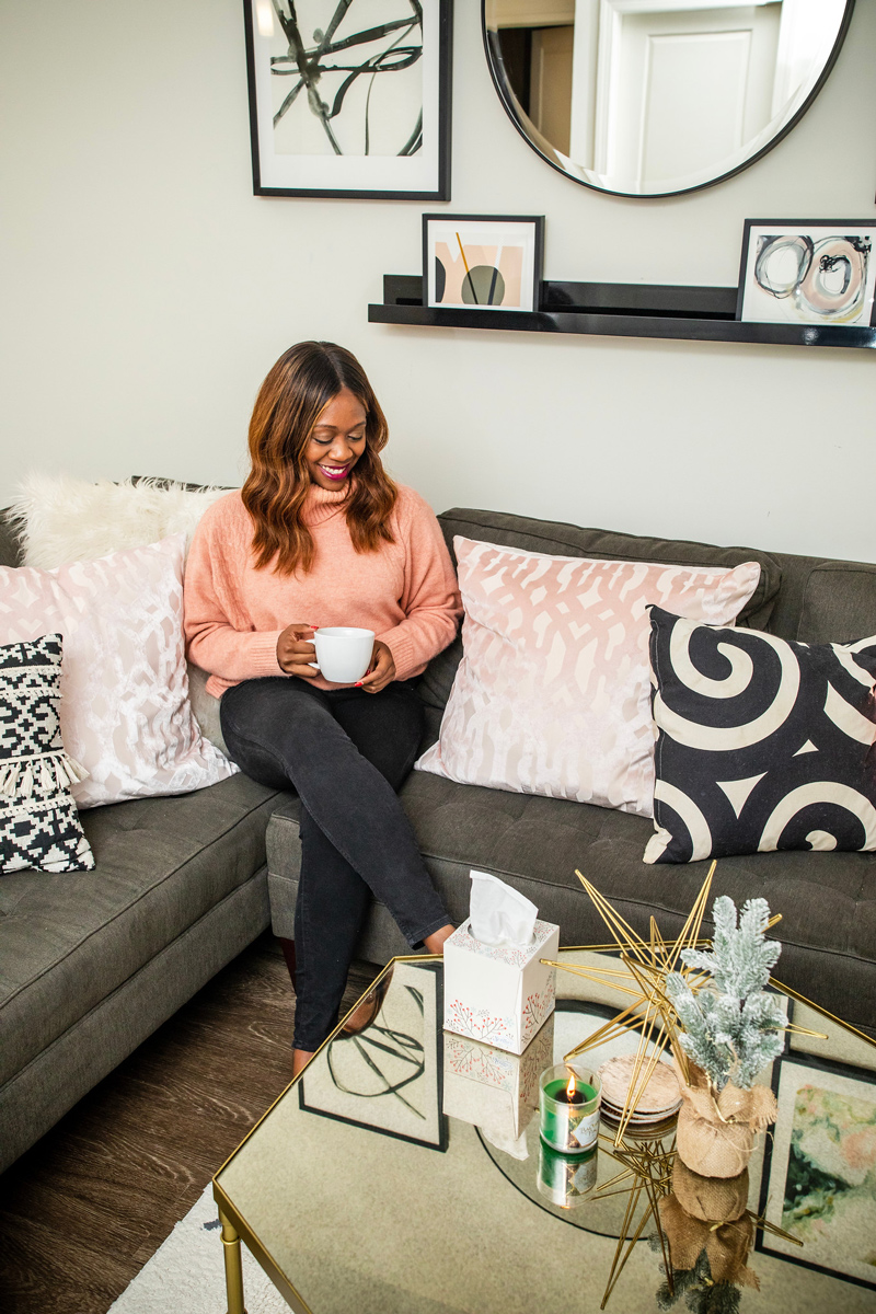 Blush and Neutral Living Room Decor | Holiday Home Decor Tour with Scotties featured by top Washington DC blogger Alicia Tenise