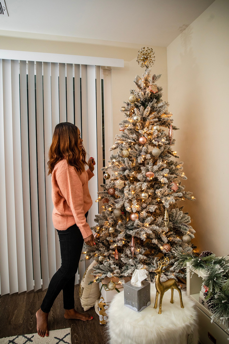 7.5 ft. Pre-Lit Flocked Birmingham Fir Tree 400 Clear Lights and Metal Stand | Holiday Home Decor Tour with Scotties featured by top Washington DC blogger Alicia Tenise