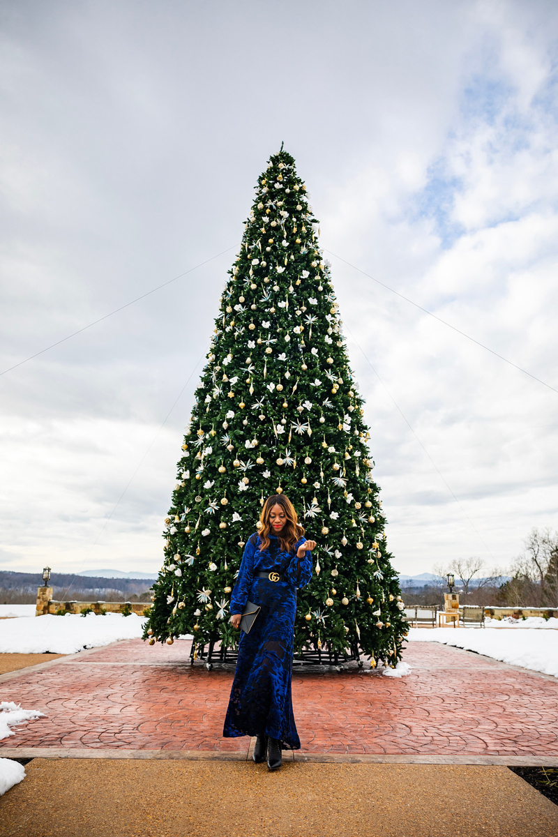 What to Wear to a Dressy Holiday Party | & Other Stories | Gucci | An Unexpected Holiday Outfit - Blue Velvet Dress featured by top DC fashion blogger Alicia Tenise