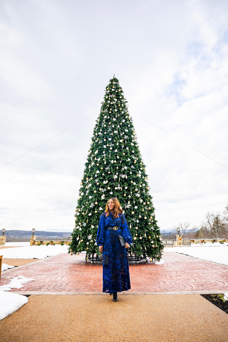 Mount Ida Tasting Room Christmas Tree | & Other Stories | Gucci | An Unexpected Holiday Outfit - Blue Velvet Dress featured by top DC fashion blogger Alicia Tenise