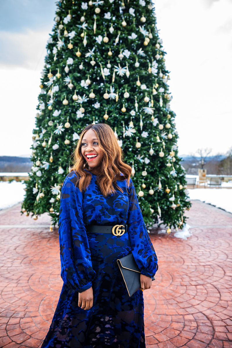 Bobbi Brown Luxe Matte Lipstick in Fever Pitch | & Other Stories | Gucci | An Unexpected Holiday Outfit - Blue Velvet Dress featured by top DC fashion blogger Alicia Tenise