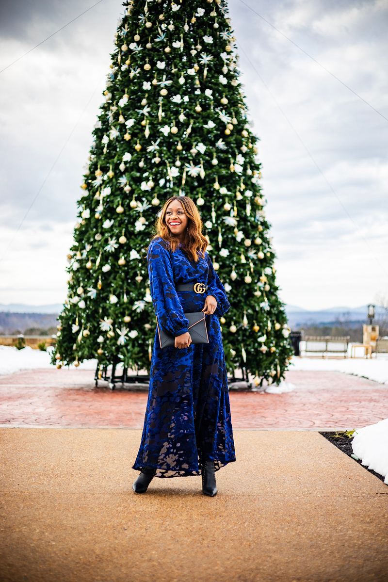 & Other Stories | Gucci | An Unexpected Holiday Outfit - Blue Velvet Dress featured by top DC fashion blogger Alicia Tenise