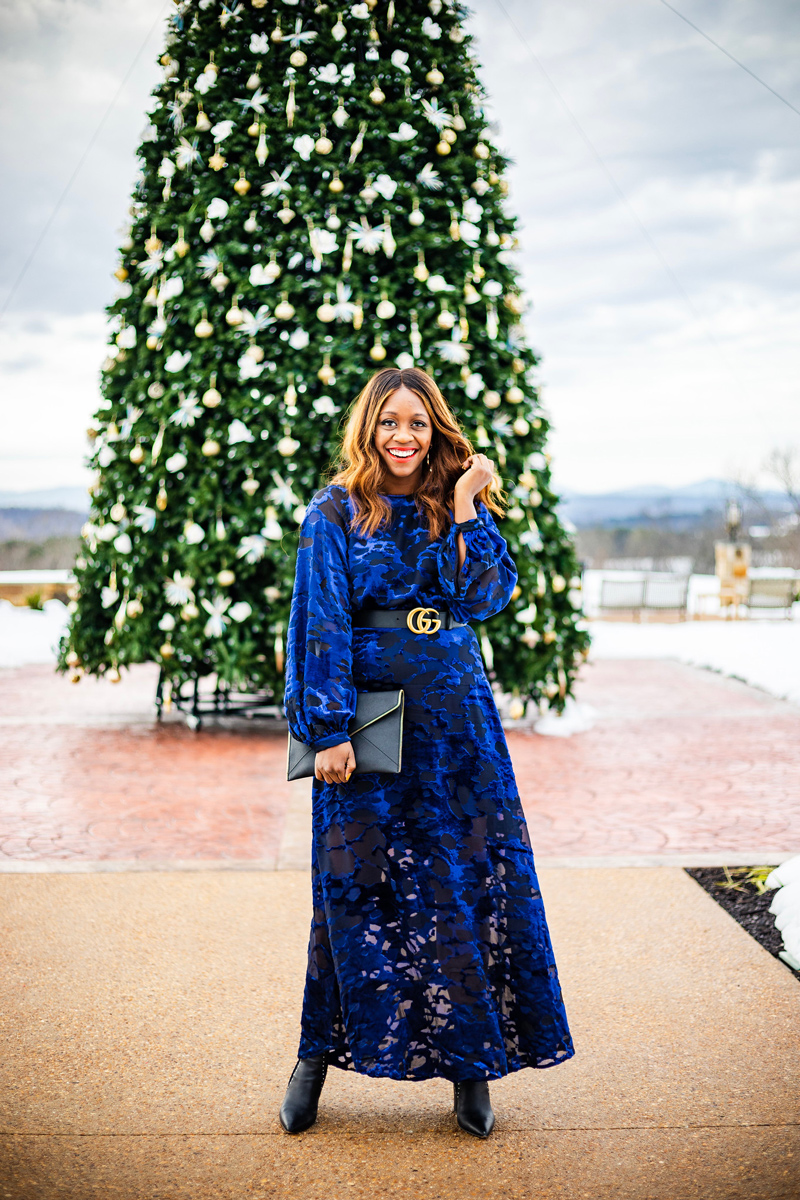 Velvet Holiday Outfit Idea | & Other Stories | Gucci | An Unexpected Holiday Outfit - Blue Velvet Dress featured by top DC fashion blogger Alicia Tenise