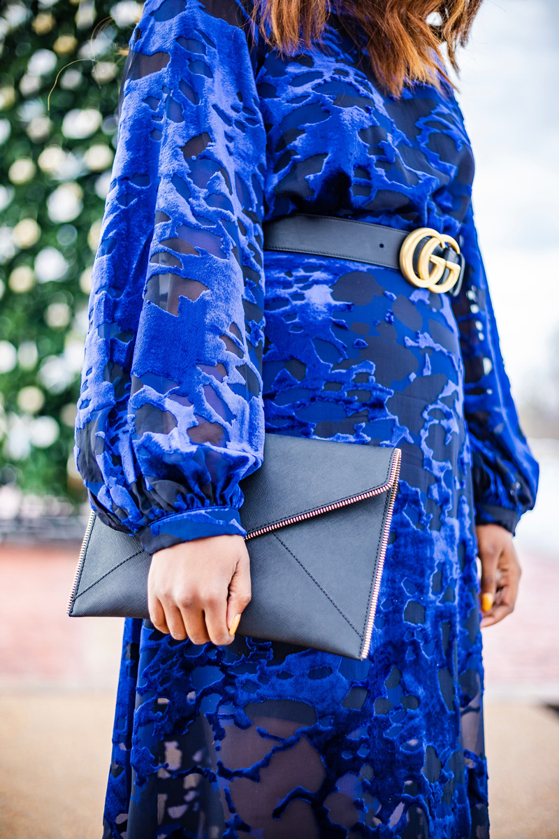 Rebecca Minkoff Leo Clutch | & Other Stories | Gucci | An Unexpected Holiday Outfit - Blue Velvet Dress featured by top DC fashion blogger Alicia Tenise